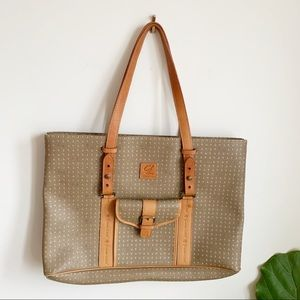Grand Lion Leather Canvas Brown Tan Tote Bag